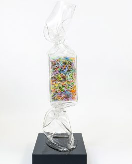 Wrapping Candy Transparent with plexiglas shavings